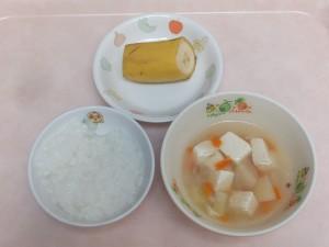 7~8か月 5倍かゆ、野菜スープ、バナナ