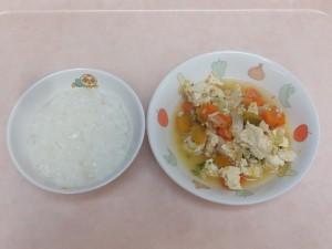 7~8か月 5倍がゆ かぼちゃと豆腐のだし煮