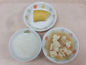 7~8か月 5倍がゆ 豆腐と野菜のだし煮 バナナ