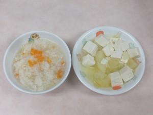 7~8か月 五目おじや じゃが芋と豆腐の 炊き合わせ