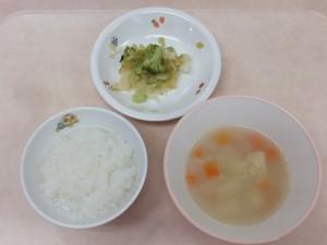 9~11か月 軟飯 野菜スープ ブロッコリーサラダ