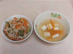 9~11か月 そぼろ丼 豆腐スープ