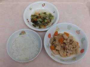 9~11か月 軟飯 高野豆腐と鶏煮 キャベツの柔らか煮