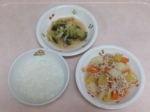 9~11ヶ月の離乳食 5倍がゆ とりミンチと野菜の炊き合わせ ブロッコリーのぽってり煮