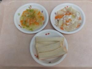 9~11ヶ月の離乳食 食パン 魚の野菜あんかけ キャベツと人参の和え物