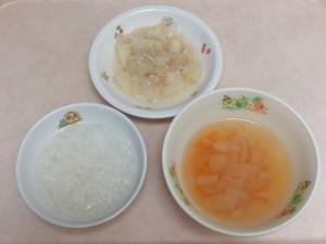 9~11ヶ月の離乳食 5倍がゆ 味噌汁 ジャーマンポテト