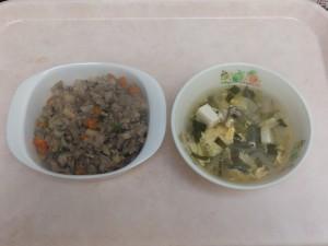 幼児食 マーボーれんこん丼 中華スープ