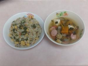 幼児食 ちりめんピラフ 夏野菜スープ