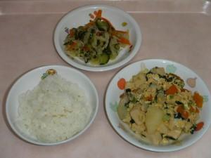 幼児食 ご飯 高野豆腐の卵とじ ごま酢和え