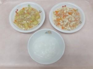 離乳食 おかゆ 豆腐の野菜あんかけ さつま芋のそぼろあんかけ