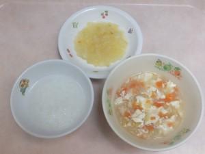 離乳食 おかゆ 味噌汁 さつま芋とりんごの甘煮