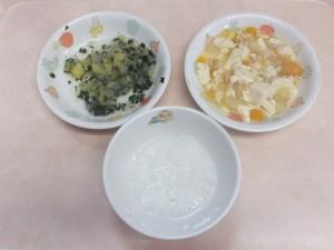 離乳食 おかゆ かぼちゃのそぼろ煮 さつま芋と野菜の煮物