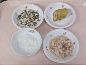 離乳食 おかゆ 煮魚 白和え バナナ