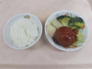 幼児食 ご飯 煮込みハンバーグ ボイル野菜