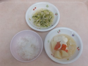 離乳食 おかゆ 根菜と豆腐の炊き合わせ 野菜のそぼろあんかけ