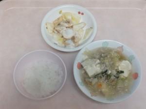離乳食 おかゆ 豆腐の野菜あんかけ フルーツヨーグルト