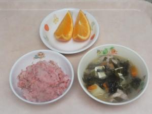 幼児食 梅ちりめんご飯 五目味噌汁 オレンジ