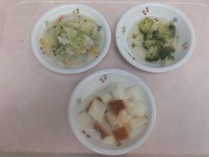 離乳食 パン粥 魚のクリーム煮 ブロッコリーのぽってり煮