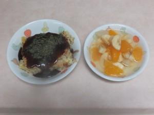幼児食 お好み焼き フルーツポンチ